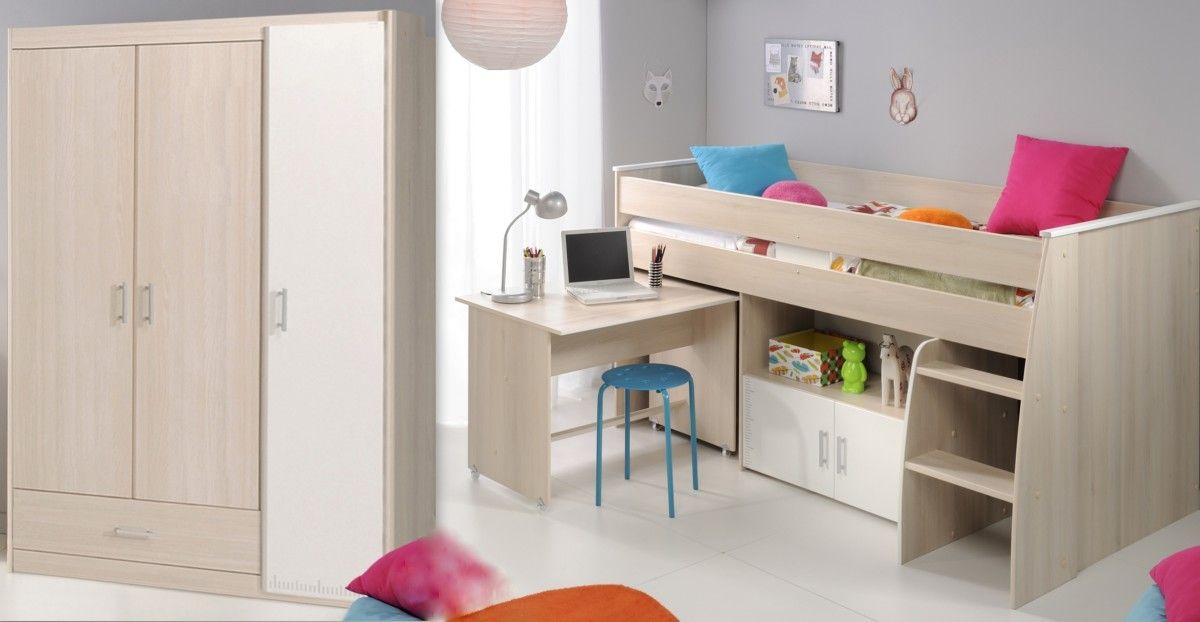 Schlafzimmer 2-tlg inkl 90x200 Etagenbett u Kleiderschrank 3-trg