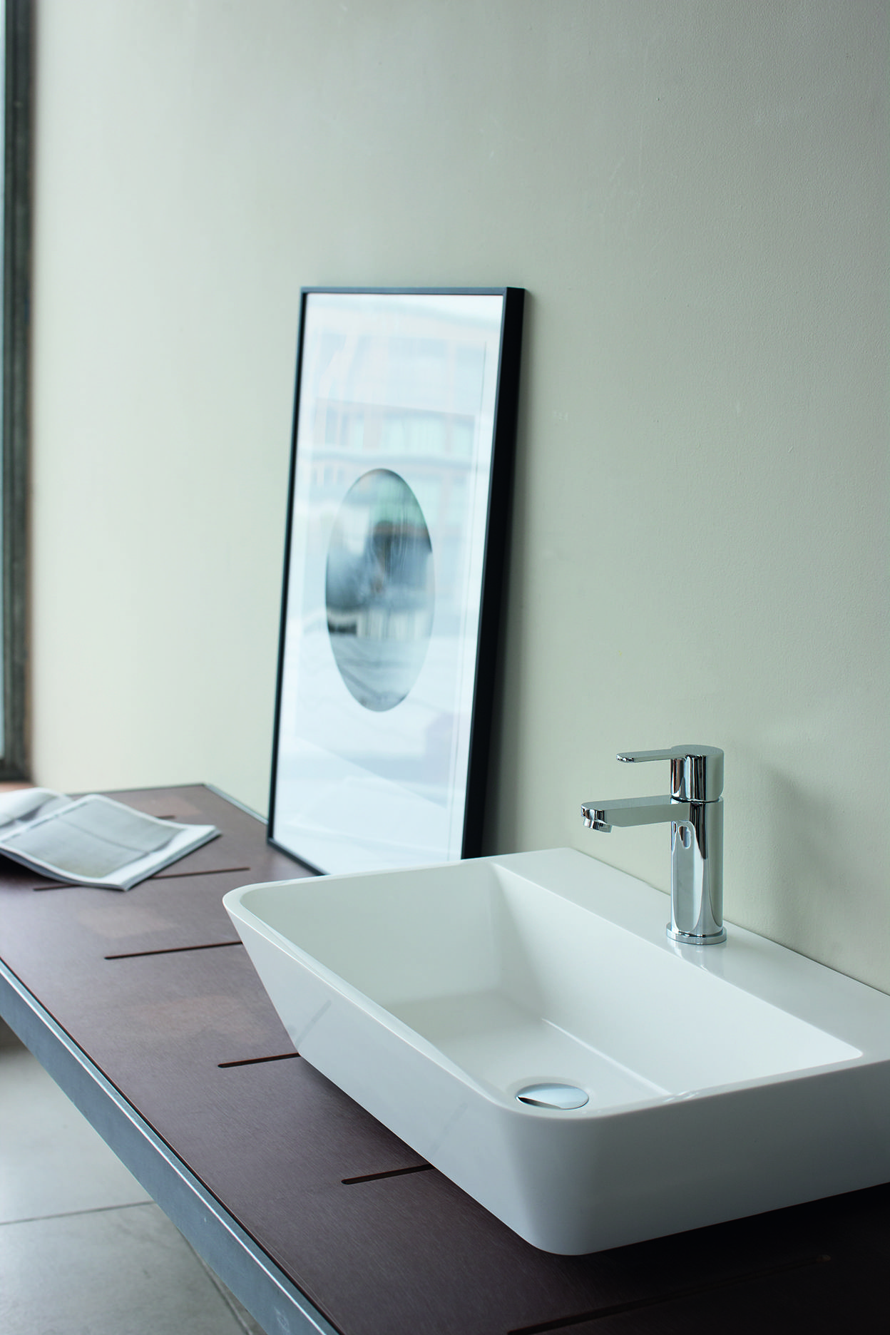 For clean lines and a minimalist style basin keep your tap simple ...