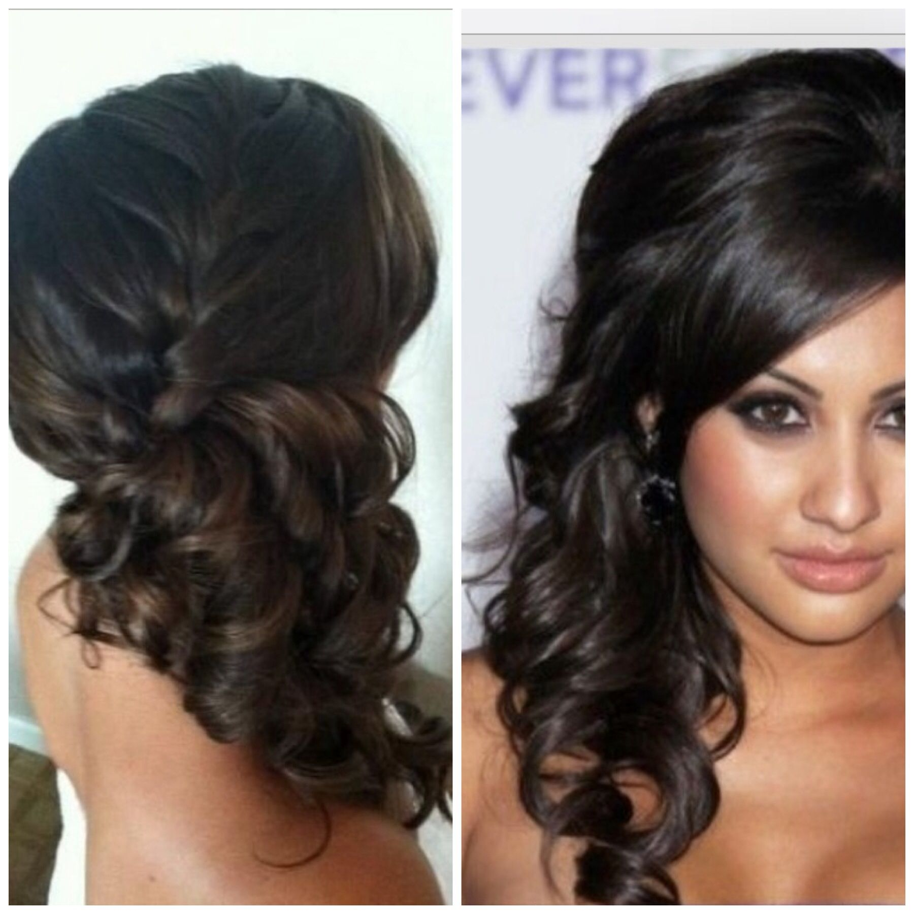 French braid side pony with curls bridesmaid hair