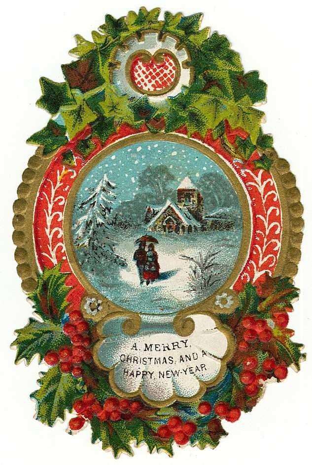 free-vintage-christmas-clip-art-border-snow-scene.jpg (633×941)