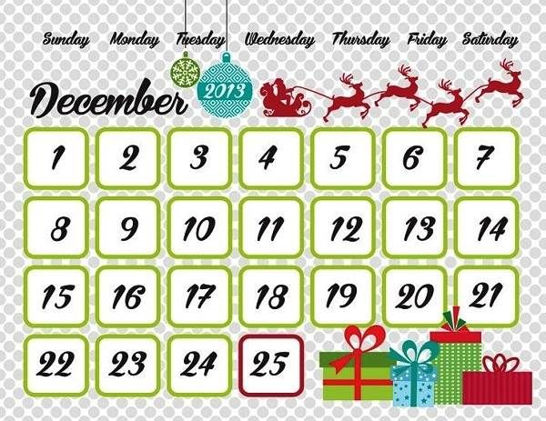 December 2013 Christmas Countdown Calendar For Kids