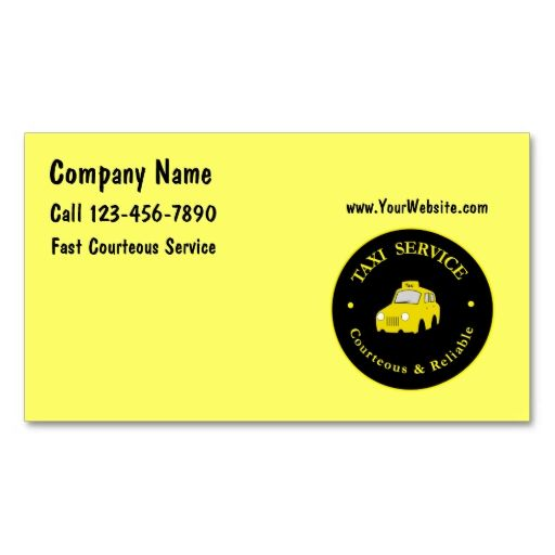 Taxi Cab Business Cards Make Your Own Card With This Great Design All You Need Is To Add Info Template