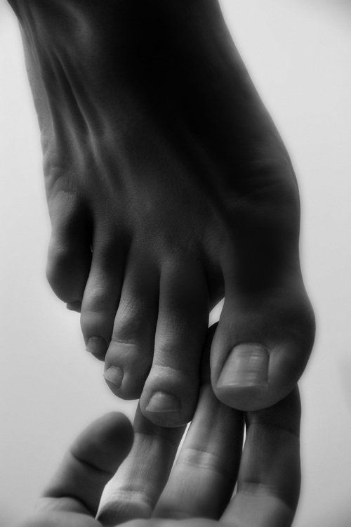 Sexy black and white feet