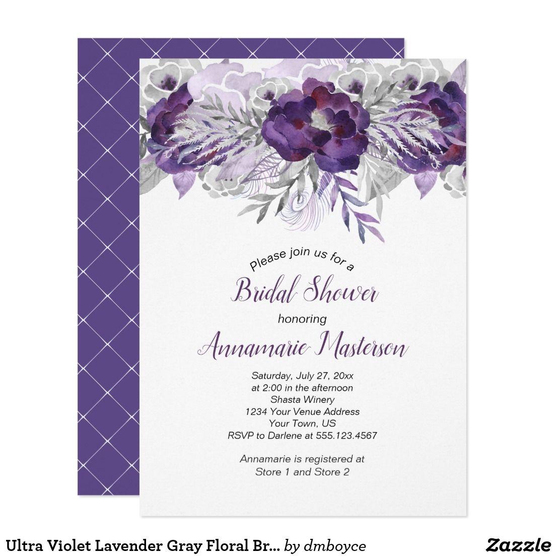 Ultra Violet Lavender Gray Floral Bridal Shower Card Ultra Violet
