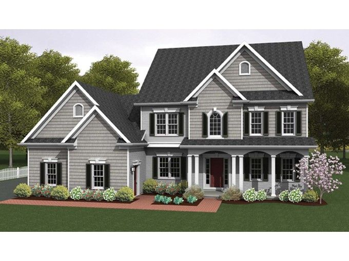 Colonial House Plan with 2234 Square Feet and 4 Bedrooms from Dream - plan maison avec tour carree