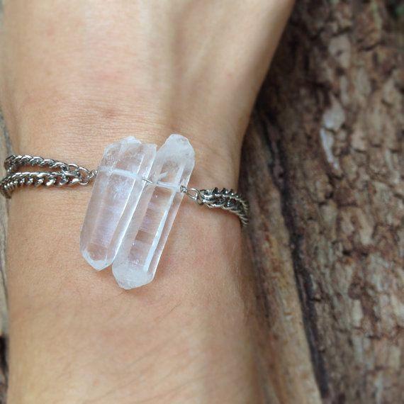Double Crystal Quartz Silver Bracelet by GramercyEight on Etsy