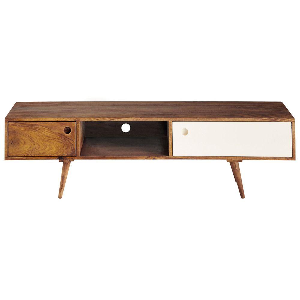 Tv Lowboard Im Vintage Stil Aus Sheeshamholz B140 Tv Units  # Meuble Tv Style Vintage