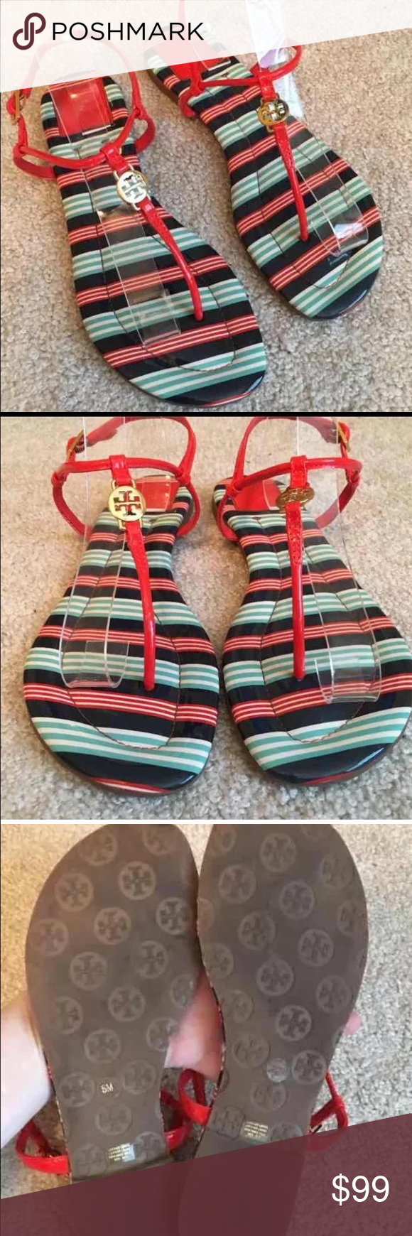 """Tory Burch Habanero Red/Blue/Navy Emmy Sandals 8 Only worn a few times- no flaws. Retail $210 no box no bag. Sole measures 10""""  FIRM PRICE Tory Burch Shoes Sandals"""