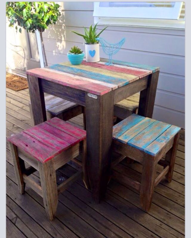 10 Reclaimed Pallet Wood Rustic Board Lumber: Rustic Table & Stools Made From Hardwood Fence Palings. In