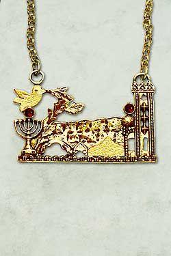 Gold Jerusalem Necklace 14k Gold Vintage Jerusalem Necklace