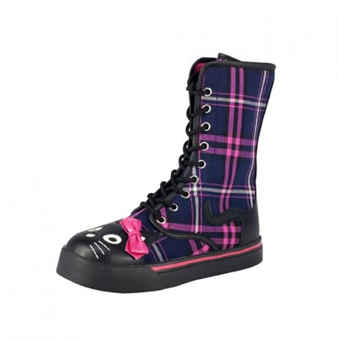 T.U.K. Shoes Kitty Combat Boot Plaid - Image 1 of 1