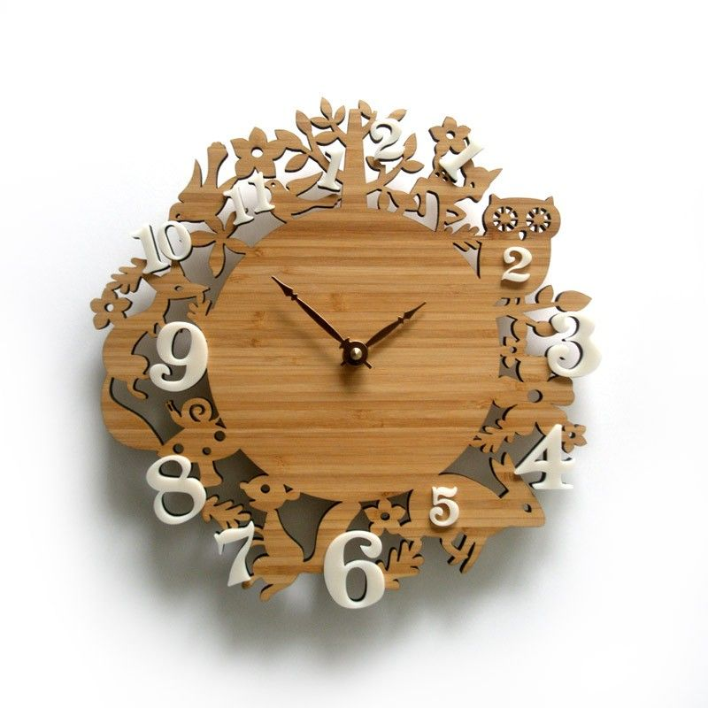 Wooden Decorative Wall Clock Forest Animal Clocks Childrens Room Decor 10 Inches Clock Wall Decor Forest Clock Wall Clock Simple