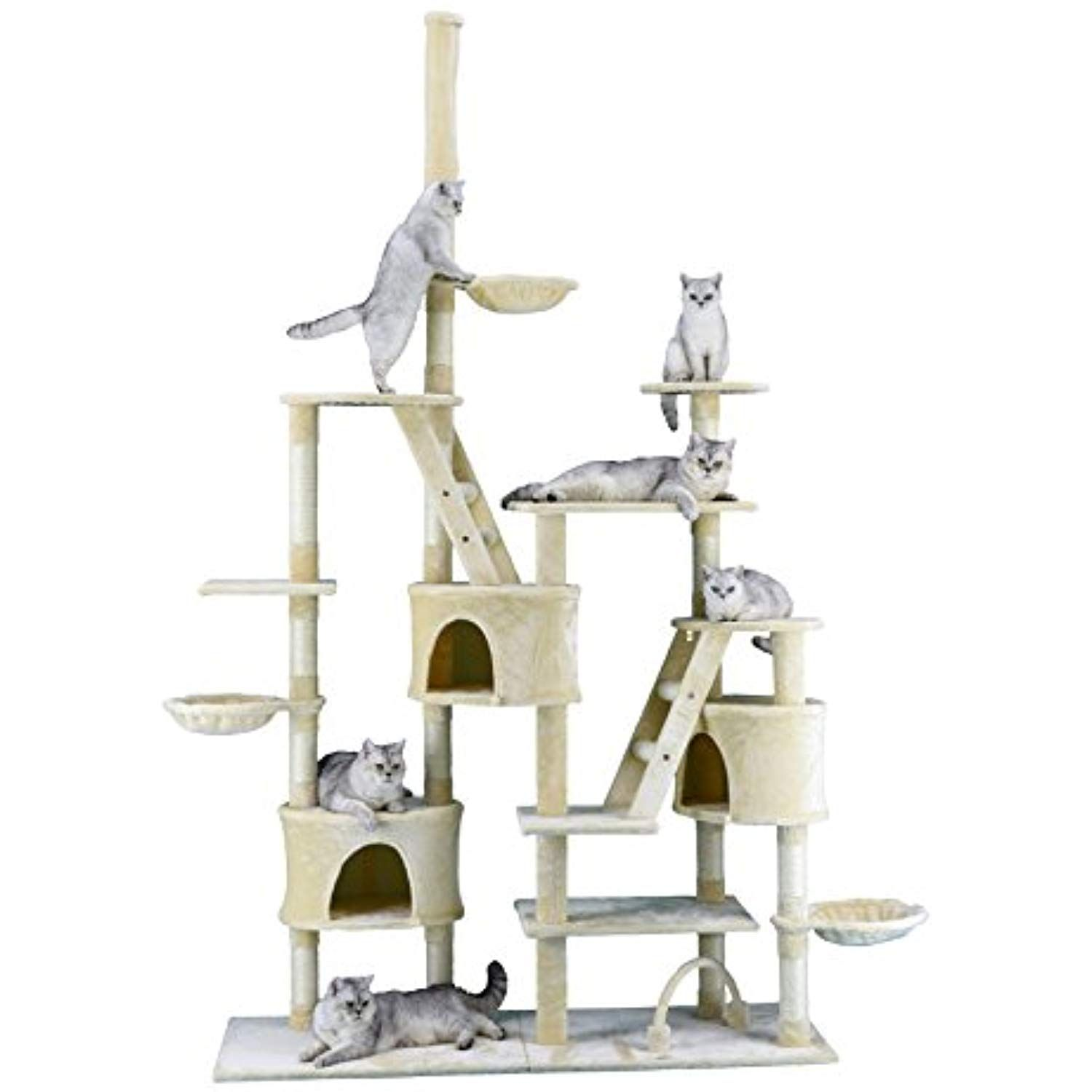 Go Pet Club Cat Tree 106 Inch Beige Be Sure To Check Out This Awesome Product This Is An Affiliate Link Catactivitytrees Cat Tree Pets Cat Activity