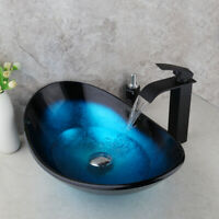 Blue Tempered Glass Vessel Bathroom Sink Waterfall Faucet Pop Up Drain Combo Tap In 2020 Gold Ceramic Glass Basin Vessel Sink Bowls