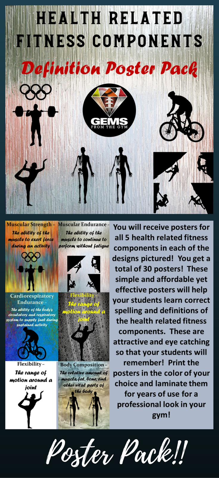 PE Posters Health Related Fitness Components Poster Pack