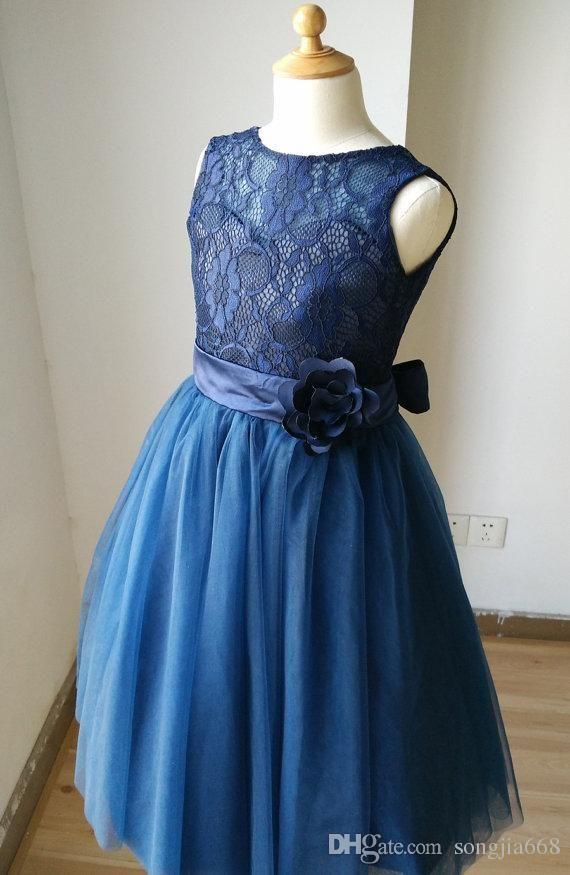 Navy Blue Lace Sweetheart Tulle Keyhole Flower Girl Dress