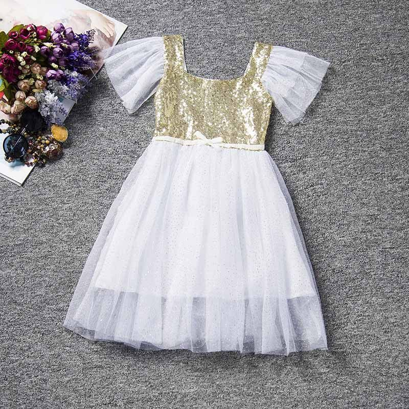 White Tulle Dress with Gold Bodice