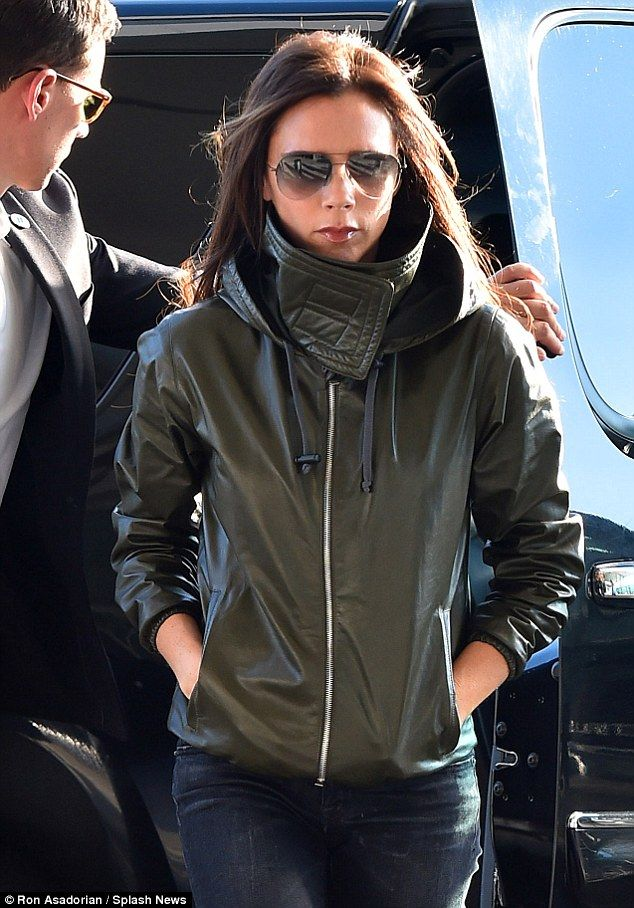 Shady: Tinted Aviator sunglasses completed an understated look for fashion designer Victoria