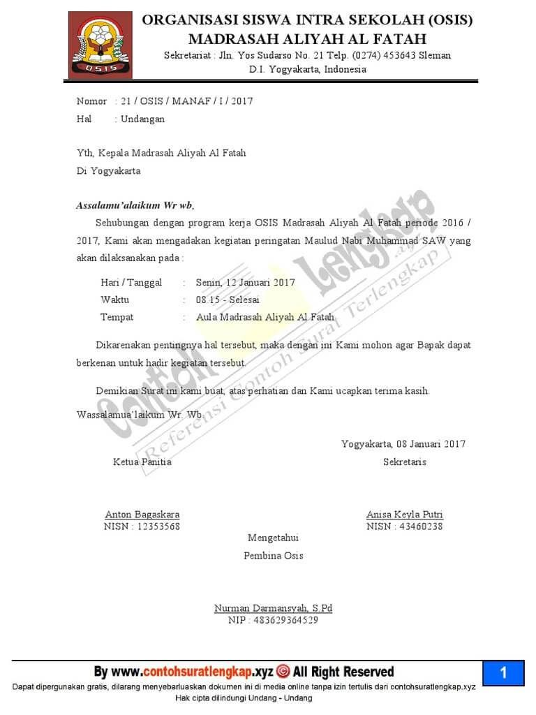 Contoh Surat Dinas Resmi Sekolah Yang Benar Surat Sekolah Undangan