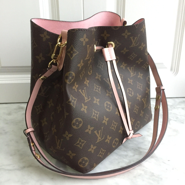 Favorite Louis Vuitton lv woman drawstring bag monogram with pink interior  XW47