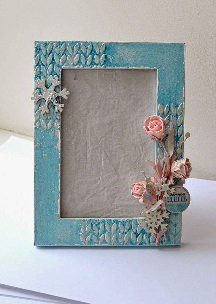 Зимняя рамка для фото (com imagens)   Como fazer espelho ...