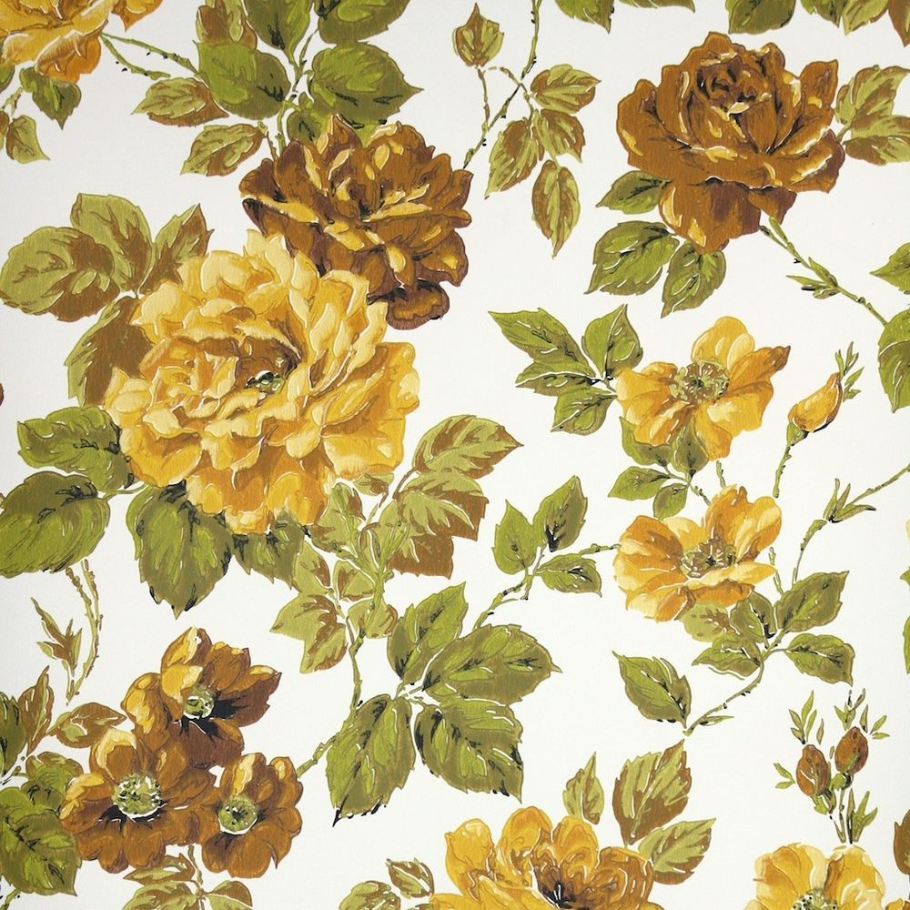 1970s Vintage Wallpaper Retro Floral Wallpaper Yellow And Brown