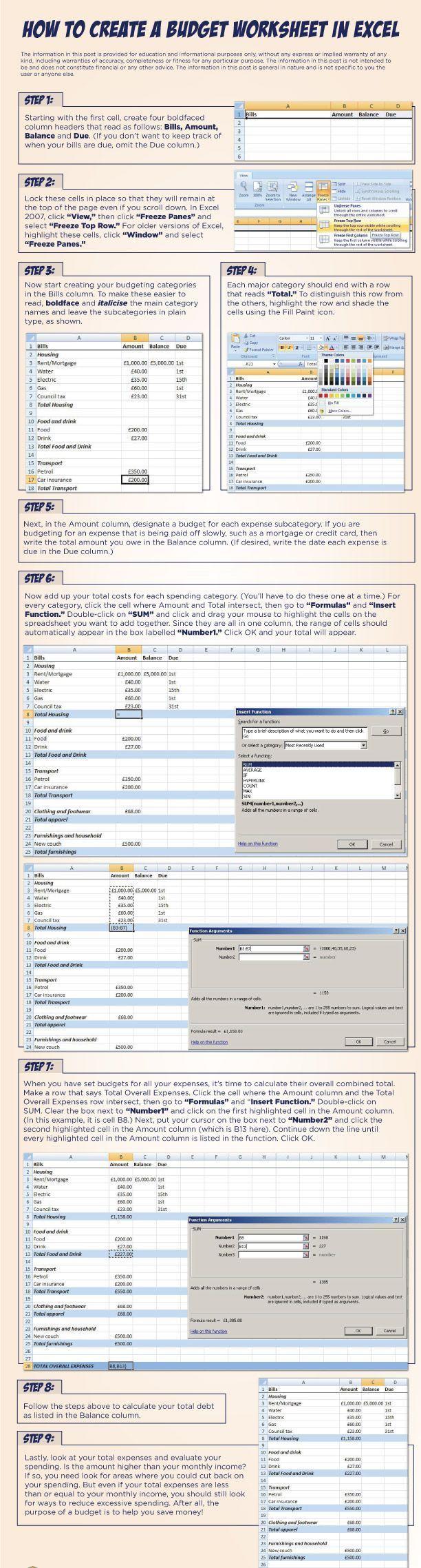 develop a budget worksheet excel