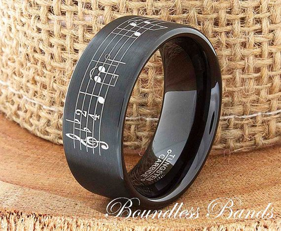 Music Ring, Tungsten Ring, Black Wedding Ring, Mens Tungsten Ring, Custom Engraved Ring, Personalized Ring, Music Note Ring