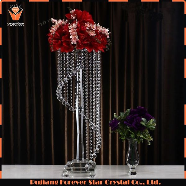 Whole Luxury Hanging Crystals Wedding Centerpieces For Flowers