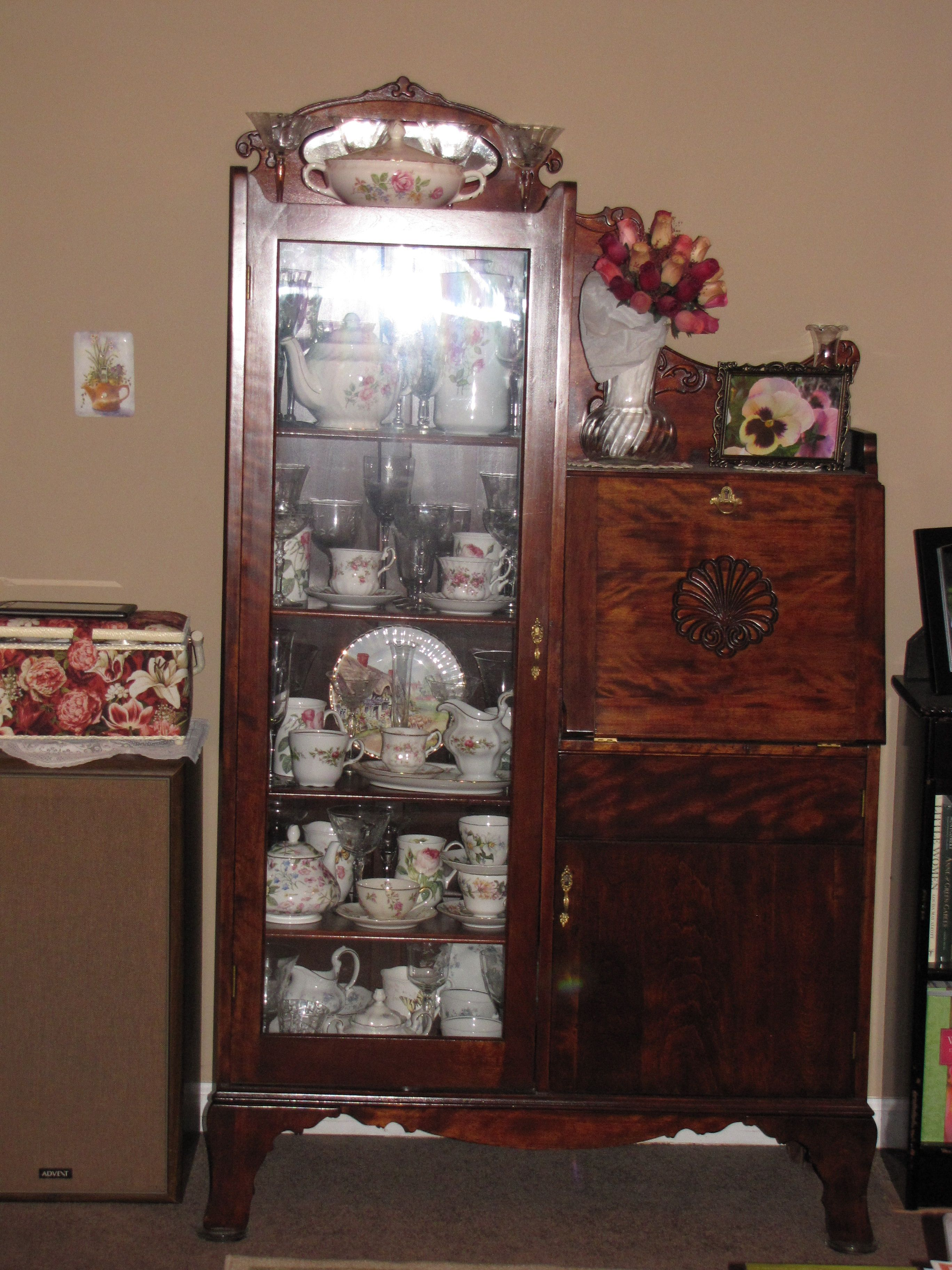 My mahogany china hutch A receipt in the desk drawer was dated 1921