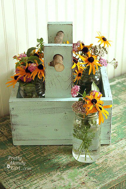 Rustic Branch Handled Caddy from a box by Pretty Handy Girl {cute idea to make from pallet or reclaimed wood}