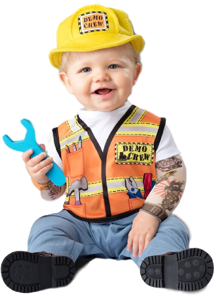 9ec560b5b Baby Builder Fancy Dress Costume. Perfect outfit for your little girl or boy  this Halloween, carnival, book day or pirate themed birthday party.