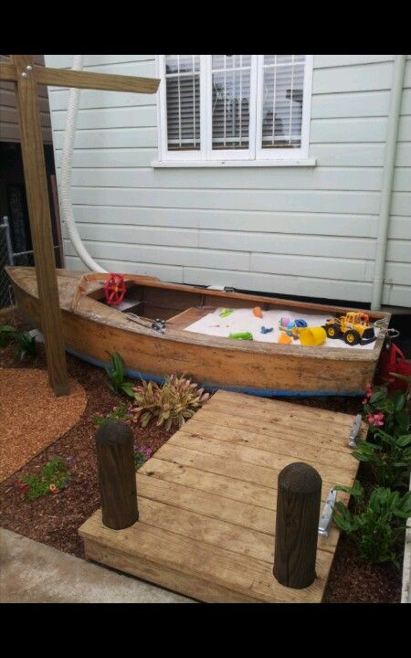 boat sandpit of boat playbox gartentr ume fairy garden pinterest sandkasten sandkiste. Black Bedroom Furniture Sets. Home Design Ideas