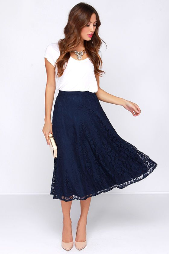 f3d50cdff54 Lace in My Heart Navy Blue Lace Midi Skirt at Lulus.com! pretty sure i ve  pinned this before but i LOVE the plain white shirt-blue textured  skirt-nude shoe ...
