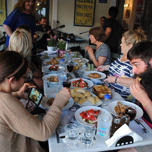 "Hungry cooking ""pupils"" after our Athens Cooking Lesson!  #greekfood #greekdinner #Greece #visitGreece"