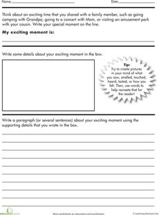 Creative writing · Write a Descriptive Paragraph Worksheet