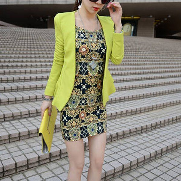 Plunging Neck Long Sleeves Solid Color Flounce Casual Blazer For Women