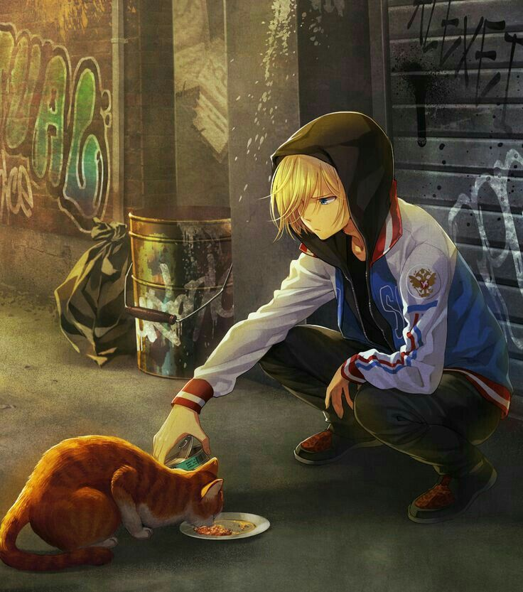 Just image Yurio feeding all the stray cats and then