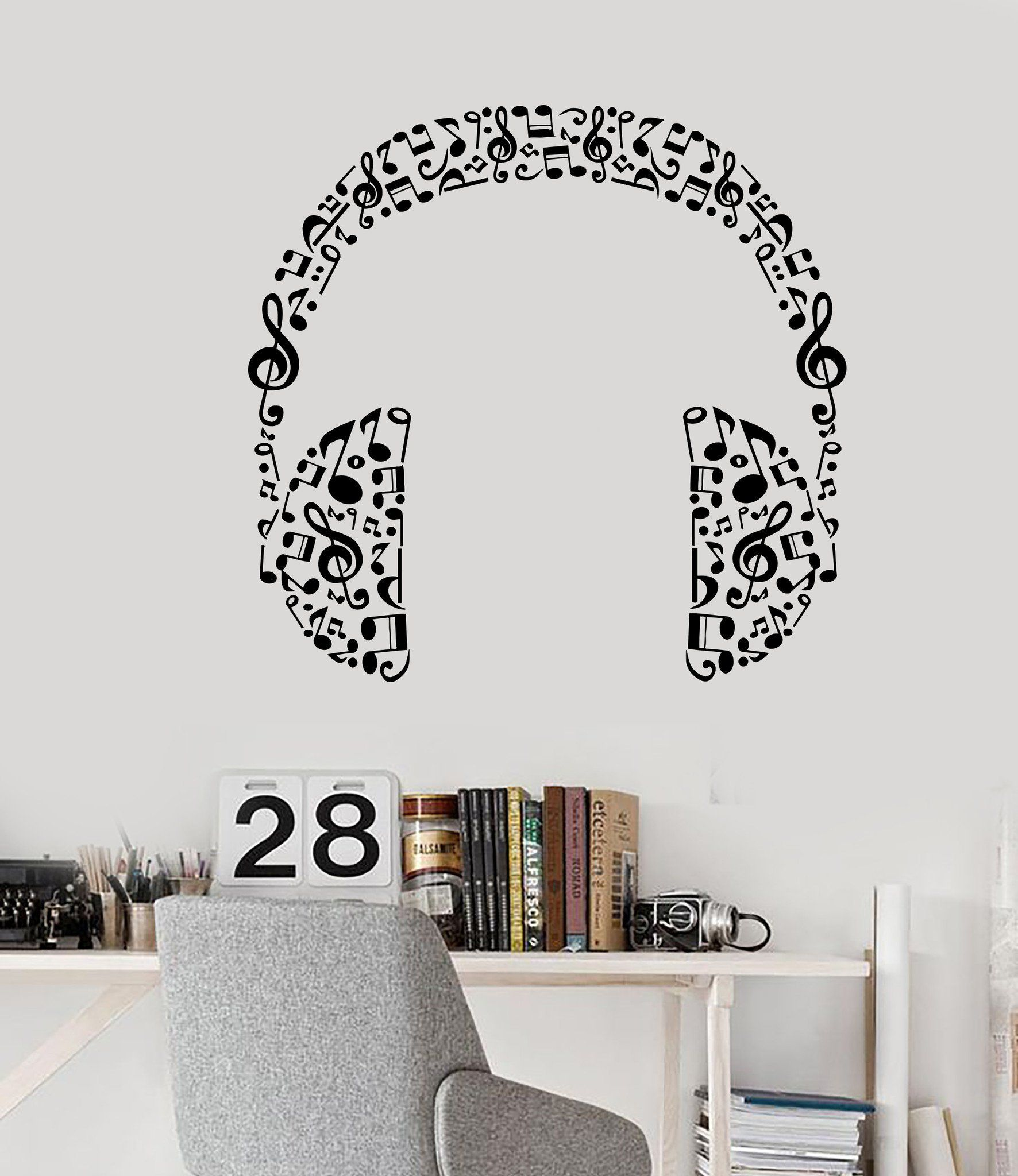 Vinyl wall decal headphones music musical room art stickers unique