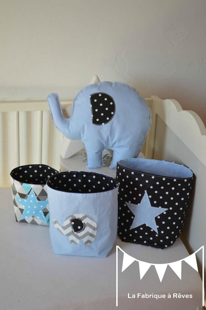 décoration chambre bébé garçon éléphant bleu noir gris étoiles ...