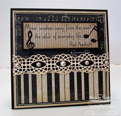 Stamped Card With Piano Notes