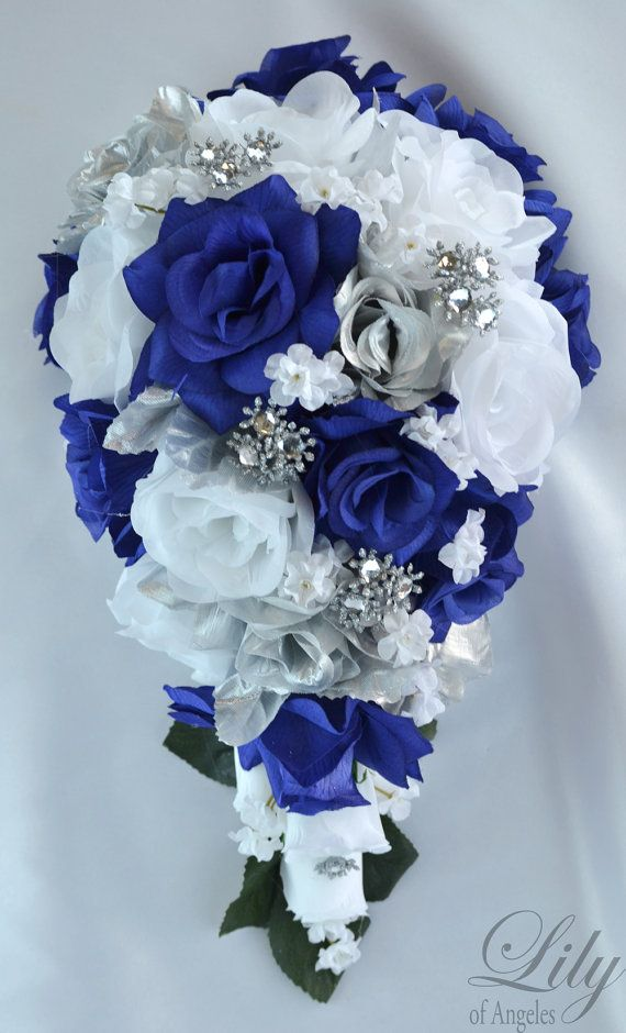 17 Piece Package Wedding Cascade Bouquet Bride Silk Flowers Bridal Bouquets Decorations Teardrop Navy Blue Silver Lily Of Angeles
