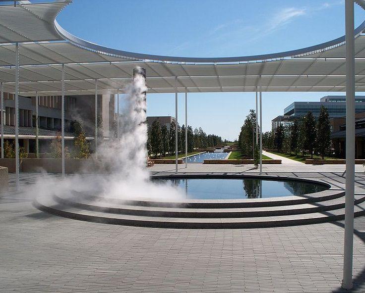 UTD campus mall. Granite fountain with mist column. http