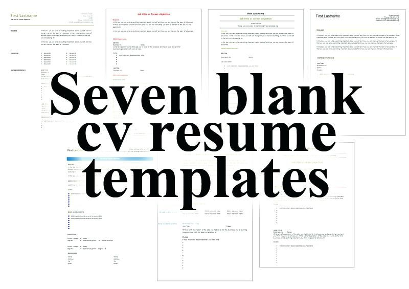 Download Resume Free Seven Blank Resume Templates Best Free