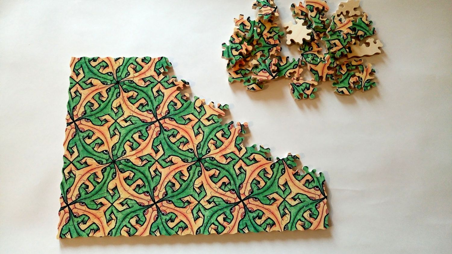 Wooden jigsaw puzzle lizards hand cut wood handcrafted custom wooden jigsaw puzzle lizards hand cut wood handcrafted custom jigsaw puzzle by mrgogoworkshop on greentooth Choice Image
