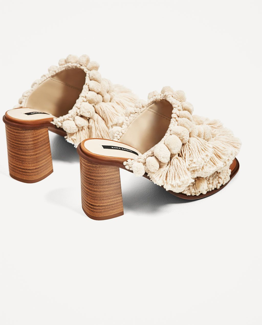 High Heel Mules With Pompoms View All Shoes Woman Zara