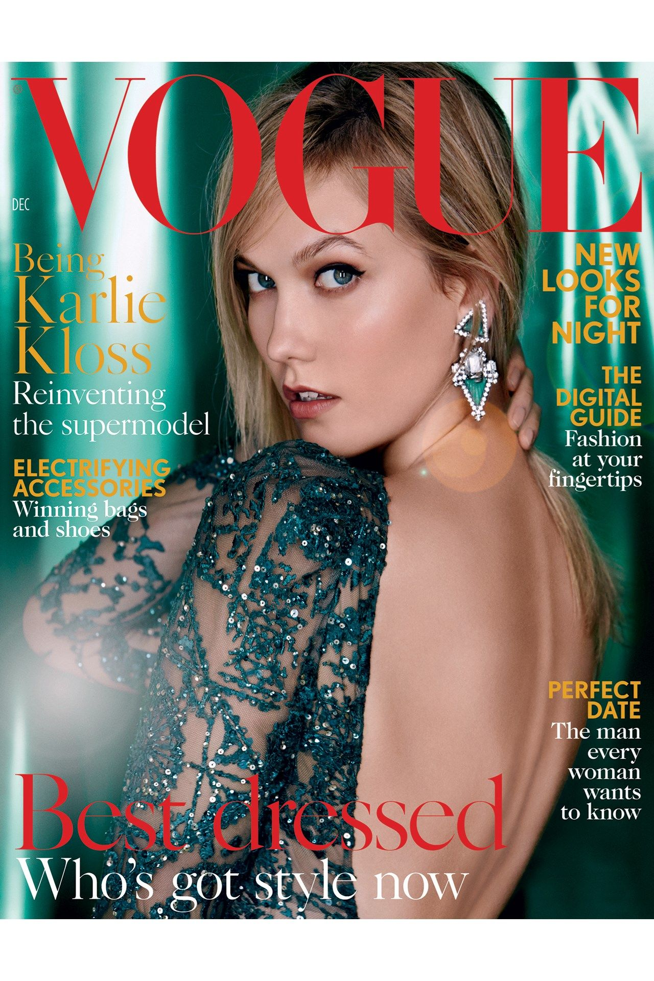Karlie Kloss by Patrick Demarchelier for Vogue UK December 2015 cover