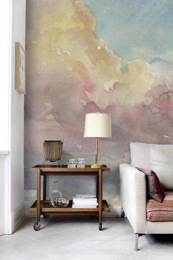 Watercolor Stripes Wallpaper Peel And Stick In 2020 Watercolor