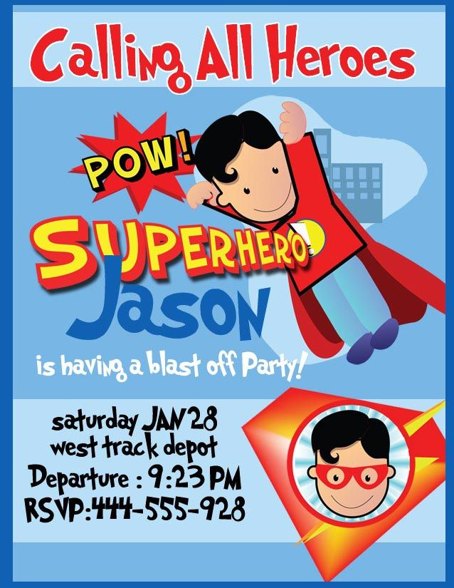 Superhero Birthday Party Invitations Templates Free | Birthday Party ...