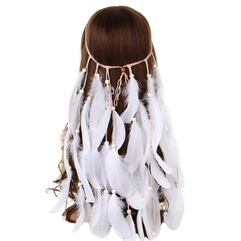 Bohemian Gypsy Feather Tassel Headband Festival Hair Band Headdress Accessory